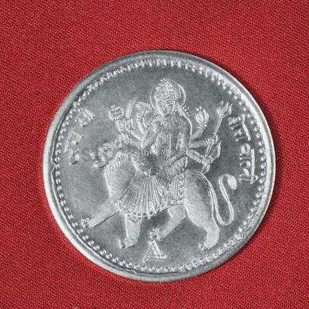 Lion : Close-up of a silver coin