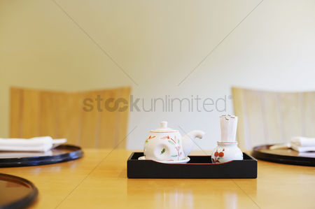 Tea pot : Close-up of a tea kettle with a tray on the table