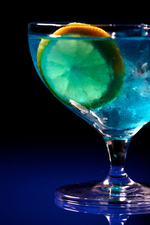 Food  beverage : Close up of blue curacao drink