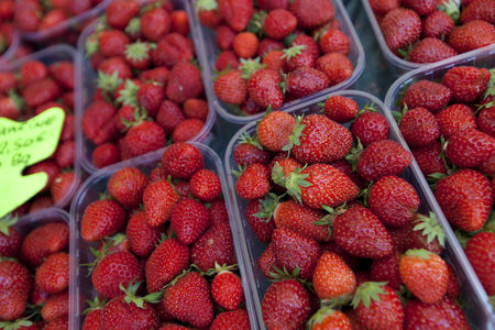 Supermarket : Close-up of fresh strawberries on display in store