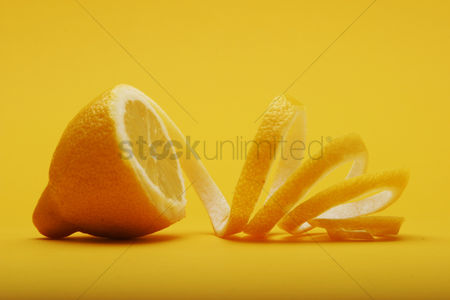 Background : Close up of lemon on white background