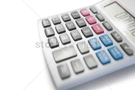 Business Finance : Close-up view of calculator on white background