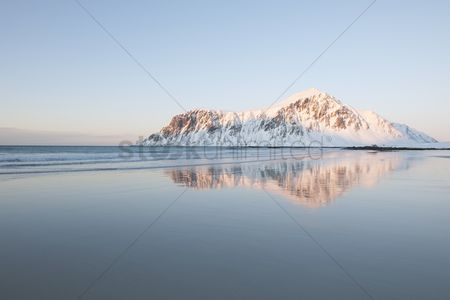 Winter : Coastal landscape on flakstadoya island loftofen norway