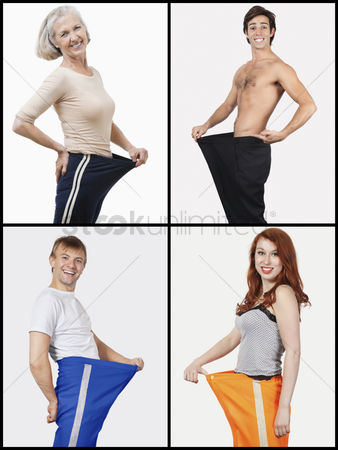 Body : Collage of happy people holding oversized pants