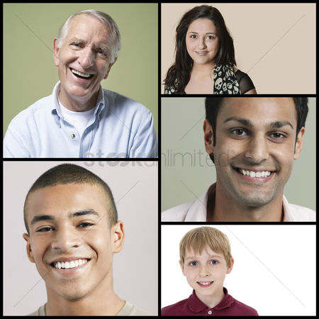 Young boy : Collage of multi-ethnic people smiling