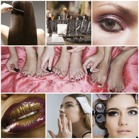 Fashion : Collage of women applying make-up