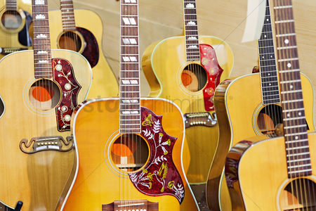 Collection : Collection of electric guitars at music store