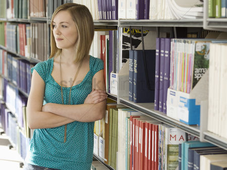 University : College student in library