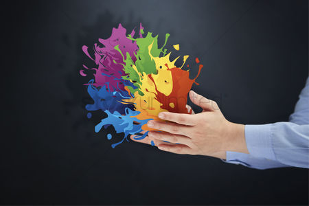Finger : Colorful paints burst out of hands