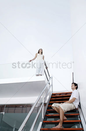 Staircase : Couple hanging around in the house