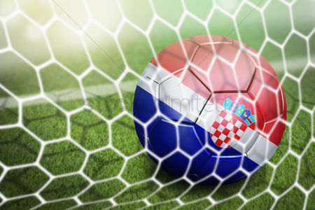 Pitch : Croatia soccer ball in goal net