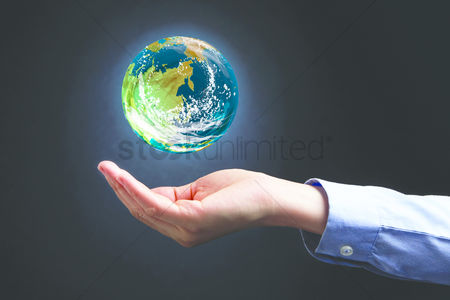 Earth  graphic vector : Cupped hand presenting the earth