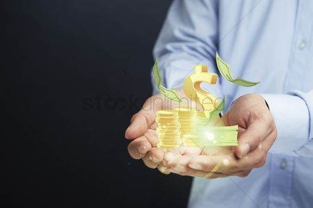 Finger : Cupped hands presenting dollar symbol with stack of money