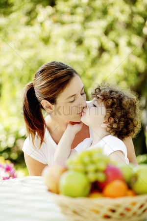 Outdoor : Daughter kissing mother