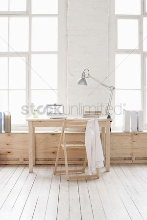 Modern lifestyle : Desk in window area of loft apartment