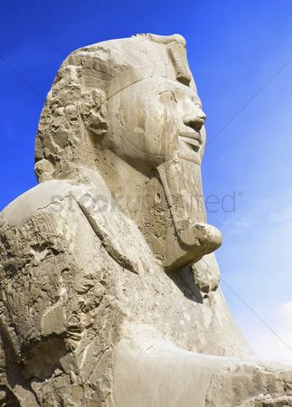 Sculpture : Detail of alabaster sphinx 19th dynasty  1341-1200 bc    ancient memphis  unesco world heritage list 1979   cairo egypt africa