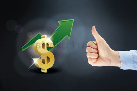 Dollar sign : Dollar symbol and arrow with thumbs up gesture