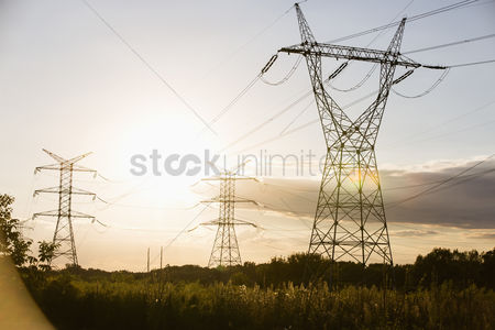 Summer : Electric power lines during summer