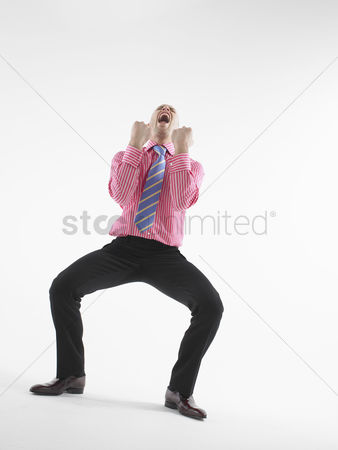 Lively : Excited businessman cheering