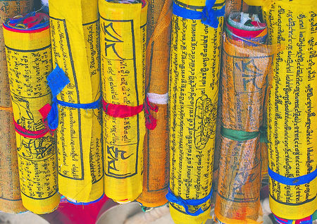 Sculpture : Extreme close up of the religious texts in nepal
