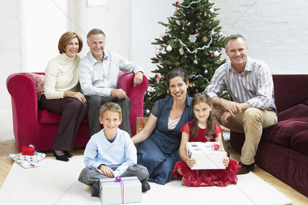 Group portrait : Family sitting by christmas tree in living room portrait