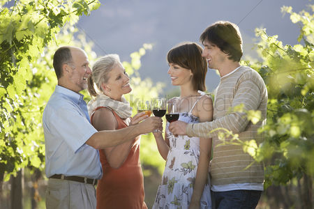 Toasting : Family toasting in vineyard