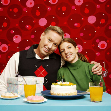 Birthday present : Father and daughter celebrating birthday