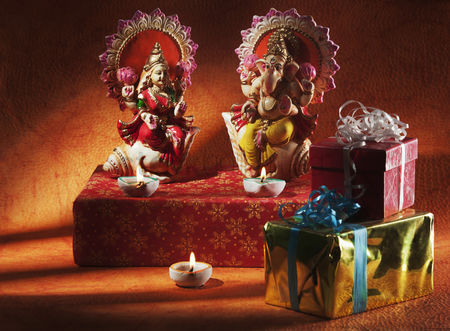 God : Figurines of ganesha and lakshmi on diwali