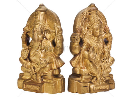 Sculpture : Figurines of goddess lakshmi and lord ganesha