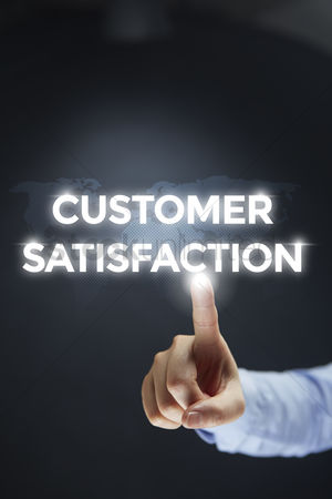Points : Finger pointing at digital text customer satisfaction