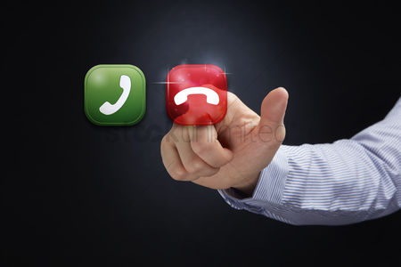 Show : Finger pointing at hang up call icon