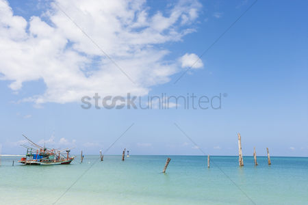Transportation : Fishing boat in calm ocean koh pha ngan thailand