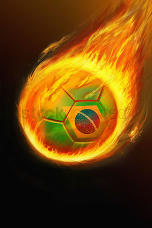 Nationality : Flaming brazil soccer ball
