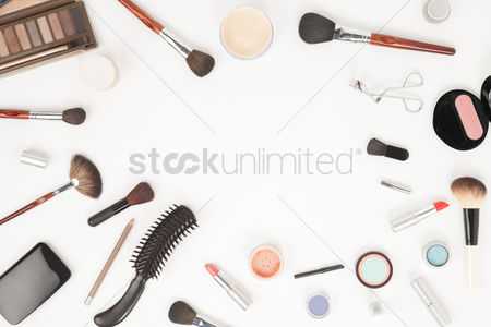 Beautiful : Flatlay of makeup accessories