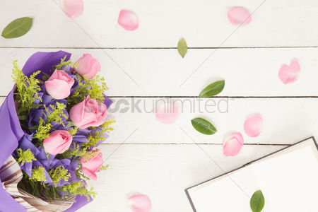Blank : Flatlay with bouquet of flowers and book