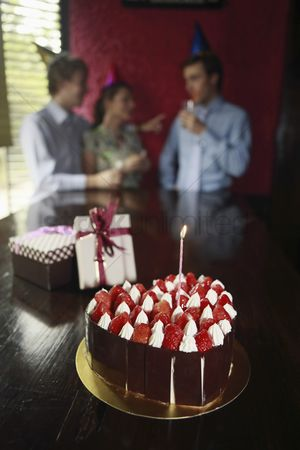 Birthday present : Focus on birthday cake and gifts of a birthday celebration