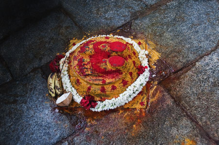 God : Footprints of lord vishnu in a shrine  srivari padalu  narayanagiri hill  tirupati  chittoor district  andhra pradesh  india