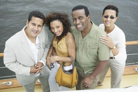Women group outside : Four friends on yacht
