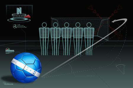 Nationality : Free kick infographic with honduras soccer ball