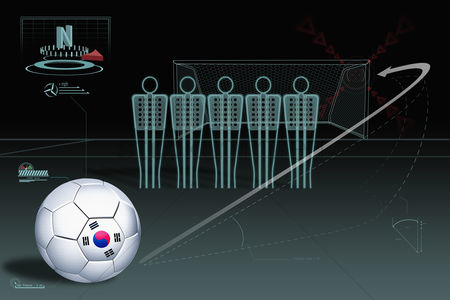 Korea republic : Free kick infographic with south korea soccer ball