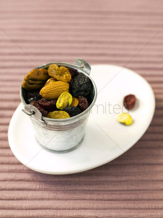 Almond : Fruit and nut in galvanised bucket