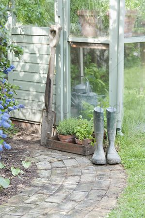 Greenhouse : Garden tools and wellington boots outside greenhouse