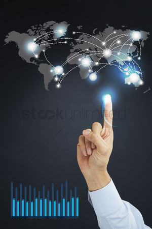 Earth  graphic vector : Global connectivity concept with infographic elements and hand gesture