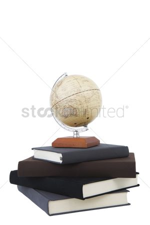 Notebook : Globe stand on books
