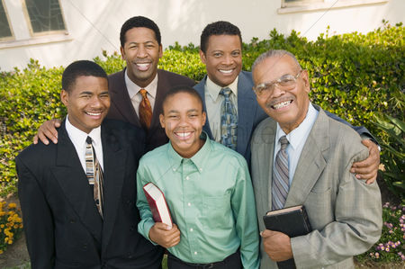 Religion : Group of male churchgoers portrait