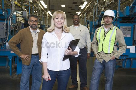 Notepad : Group of people working in newspaper factory portrait