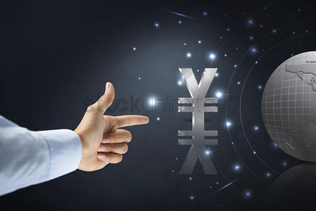 Sparkle : Hand gesture with yen currency symbol
