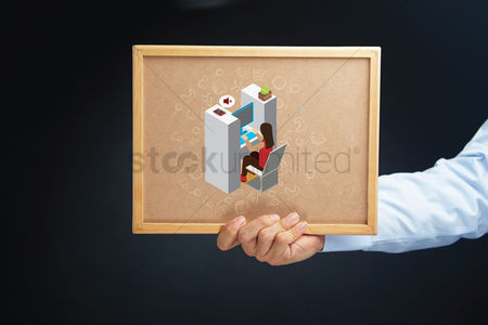 Cork board : Hand holding a board with isometric alphabet h