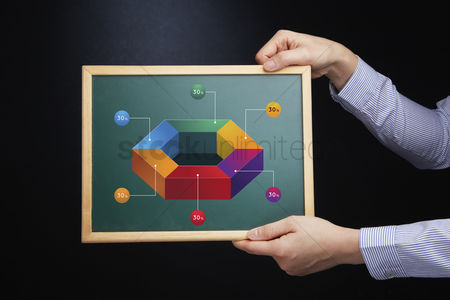 Hexagon : Hand holding a chalkboard with infographic elements