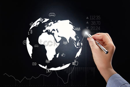 Earth  graphic vector : Hand holding pen with global business concept